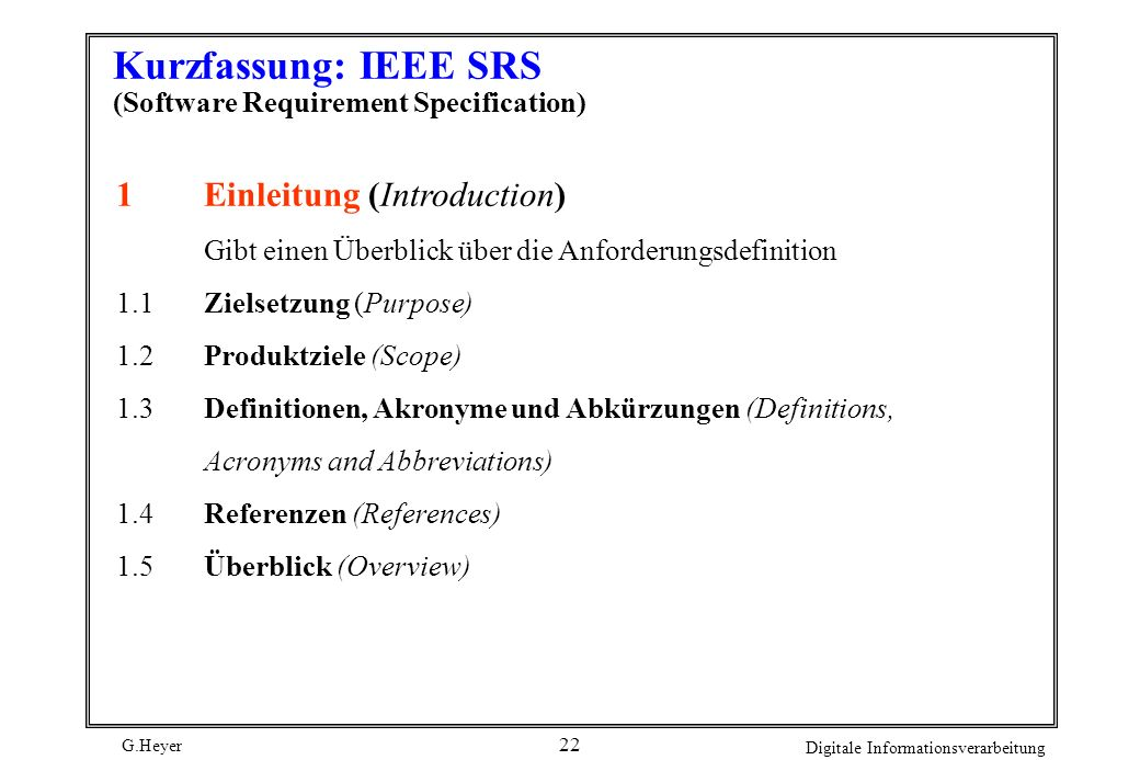 Kurzfassung: IEEE SRS (Software Requirement Specification)