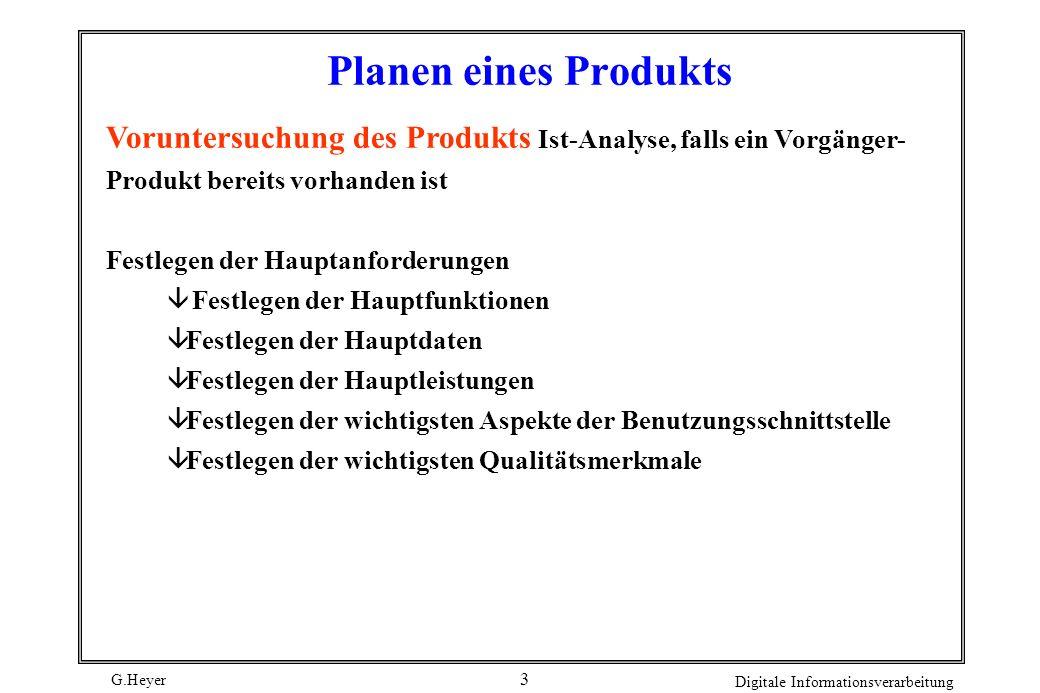 Planen eines Produkts Voruntersuchung des Produkts Ist-Analyse, falls ein Vorgänger- Produkt bereits vorhanden ist.