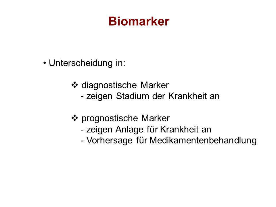 Biomarker Unterscheidung in: diagnostische Marker
