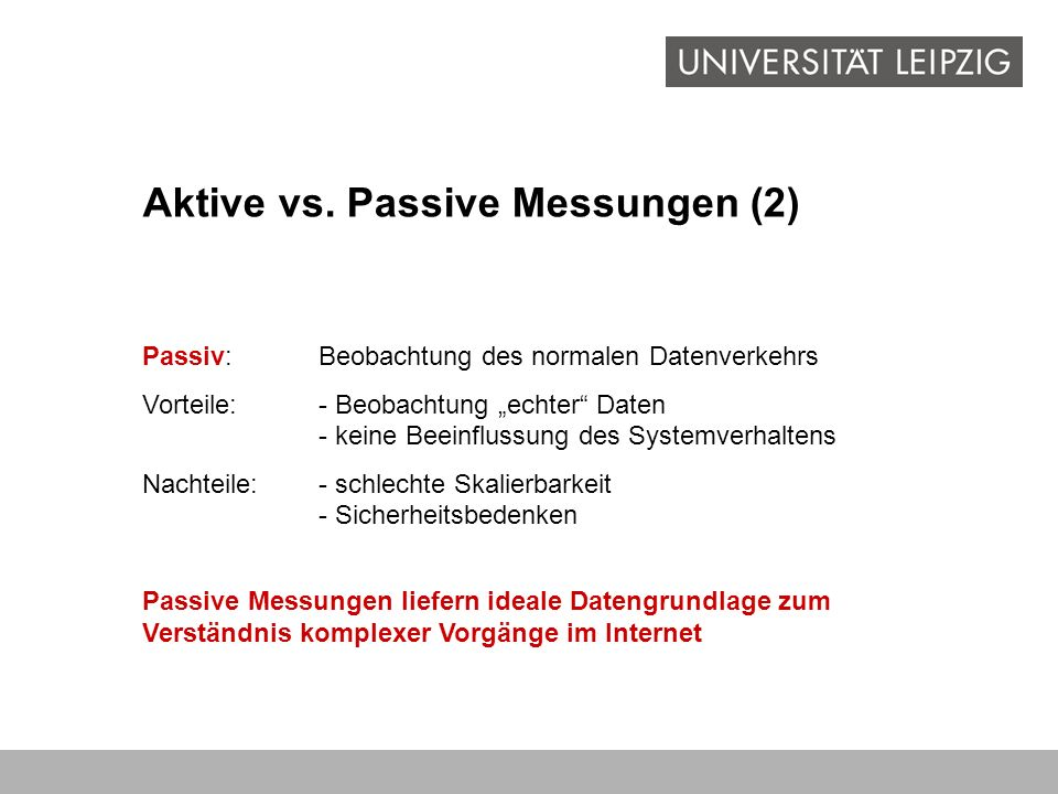 Aktive vs. Passive Messungen (2)