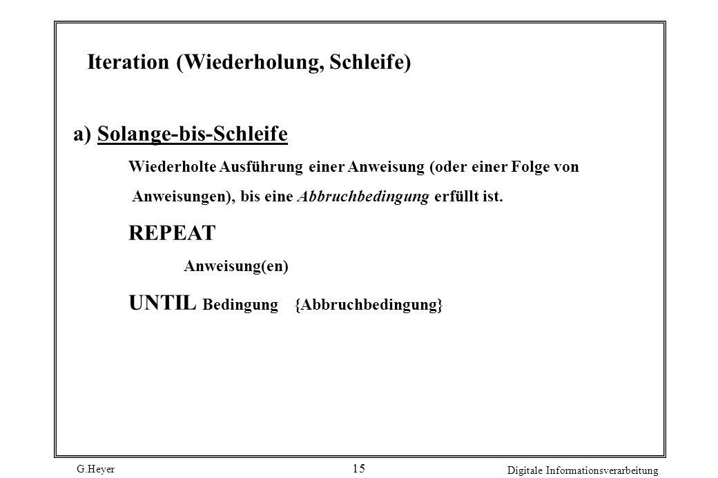 Iteration (Wiederholung, Schleife)