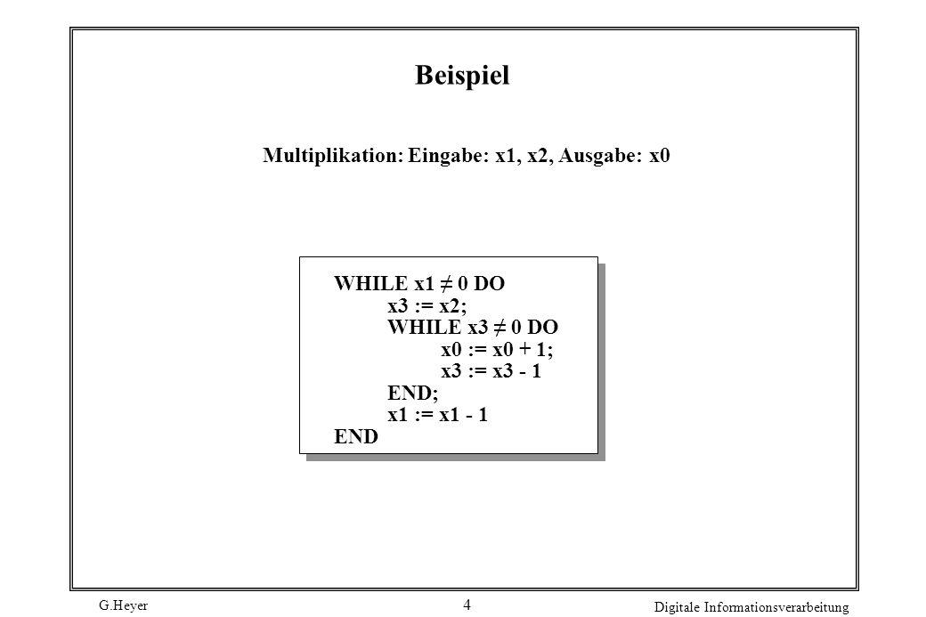 Beispiel Multiplikation: Eingabe: x1, x2, Ausgabe: x0 WHILE x1 ≠ 0 DO