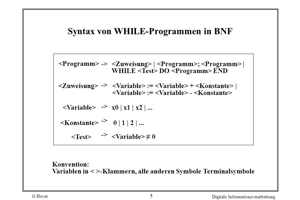 Syntax von WHILE-Programmen in BNF