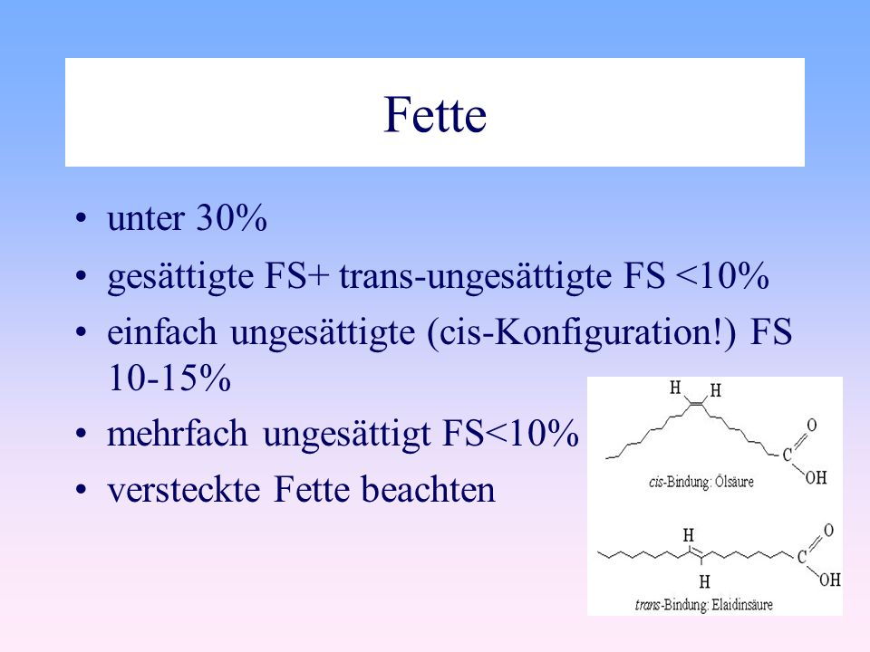 Fette unter 30% gesättigte FS+ trans-ungesättigte FS <10%