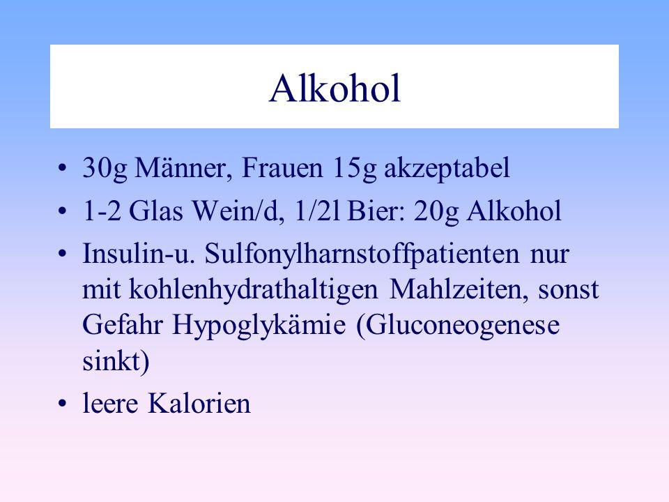 Alkohol 30g Männer, Frauen 15g akzeptabel
