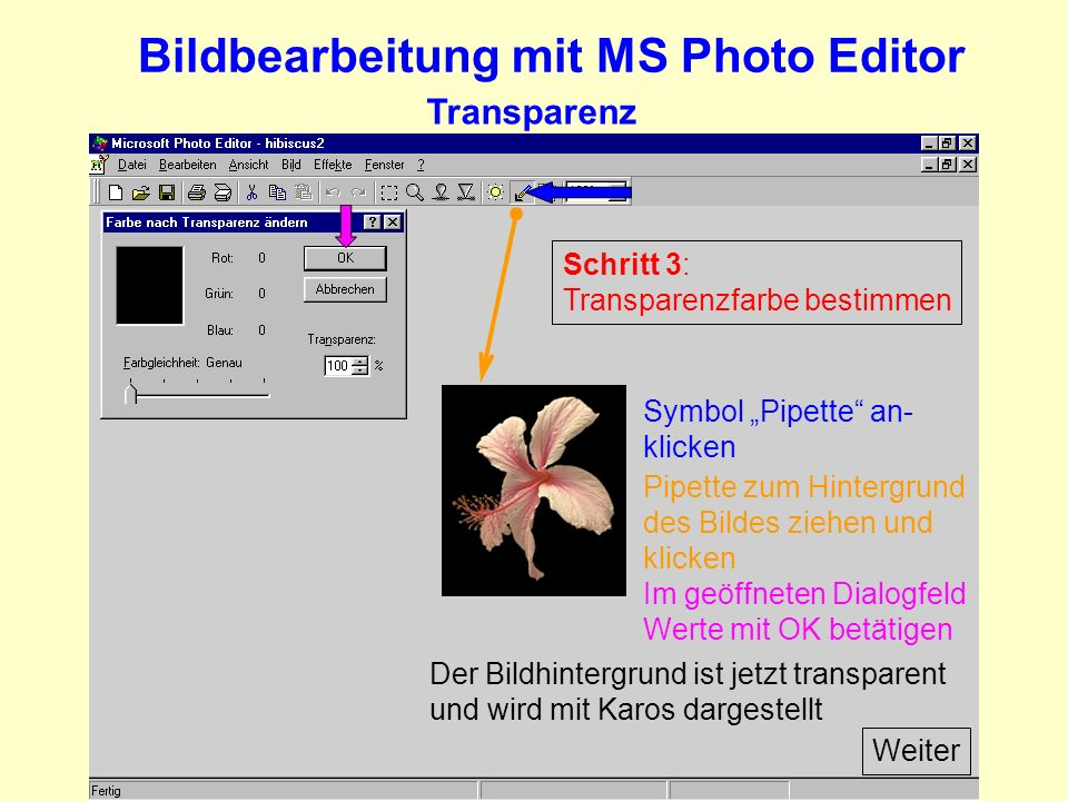 Bildbearbeitung mit MS Photo Editor
