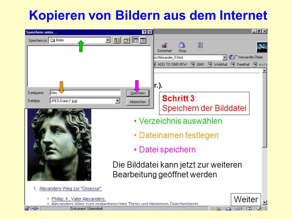 Kopieren von Bildern aus dem Internet