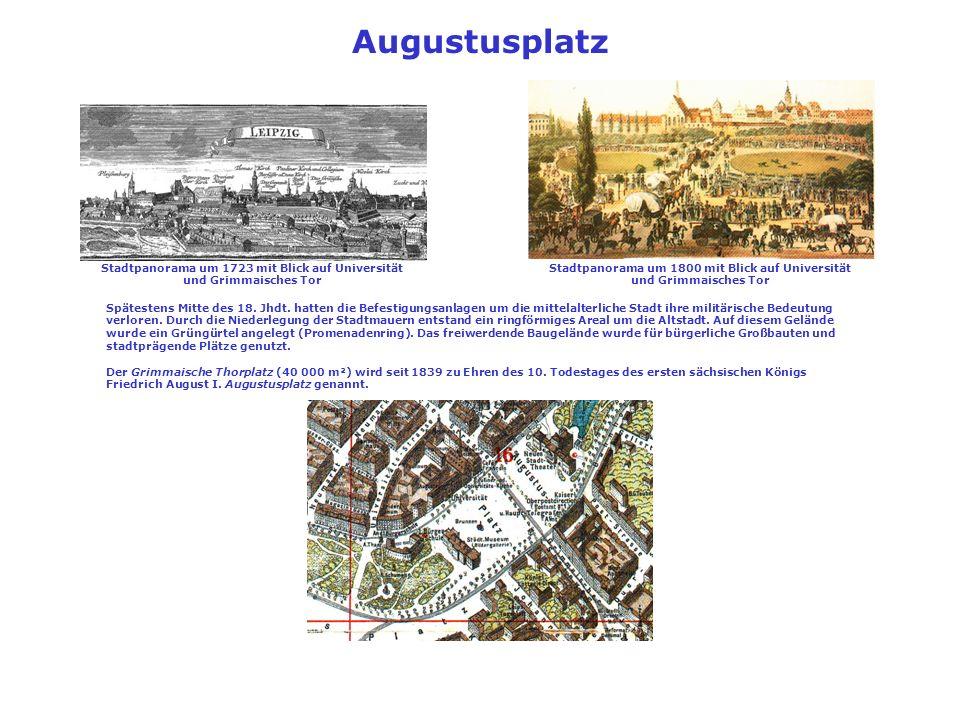 Augustusplatz Stadtpanorama um 1723 mit Blick auf Universität und Grimmaisches Tor.