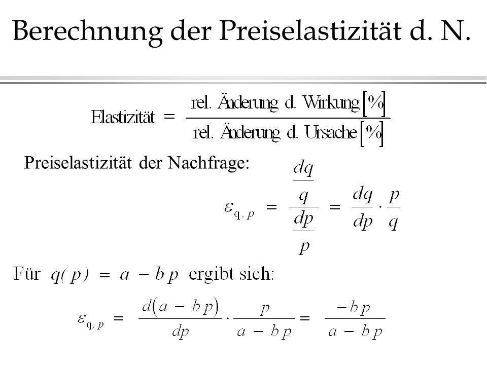 Berechnung der Preiselastizität d. N.