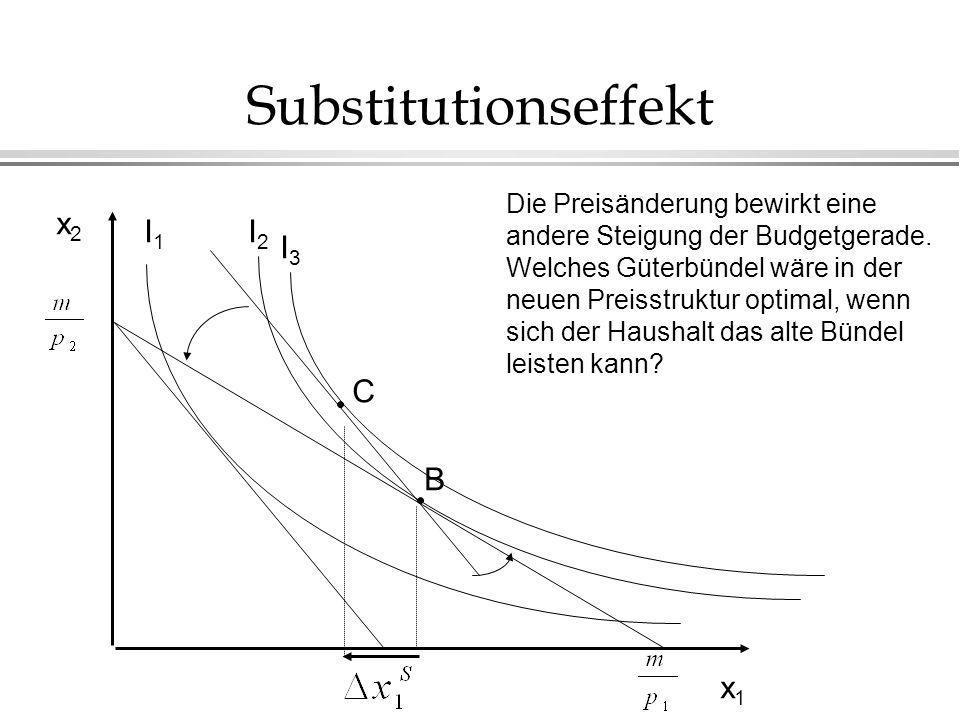Substitutionseffekt x2 I1 I2 I3 C B x1 Die Preisänderung bewirkt eine