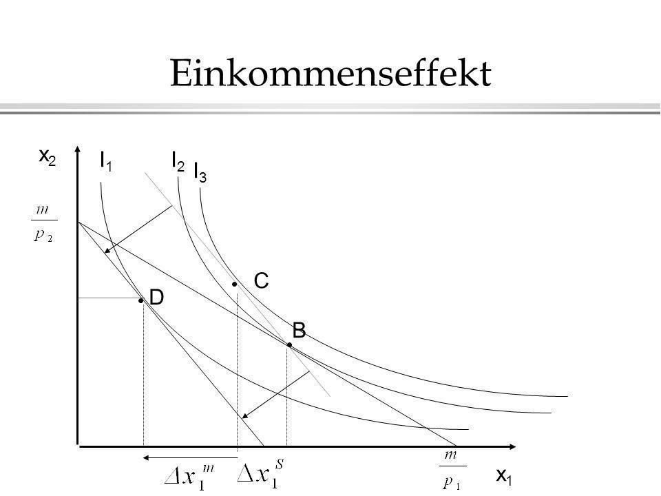 Einkommenseffekt x2 I1 I2 I3 C D B x1