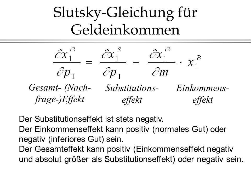 Slutsky-Gleichung für Geldeinkommen