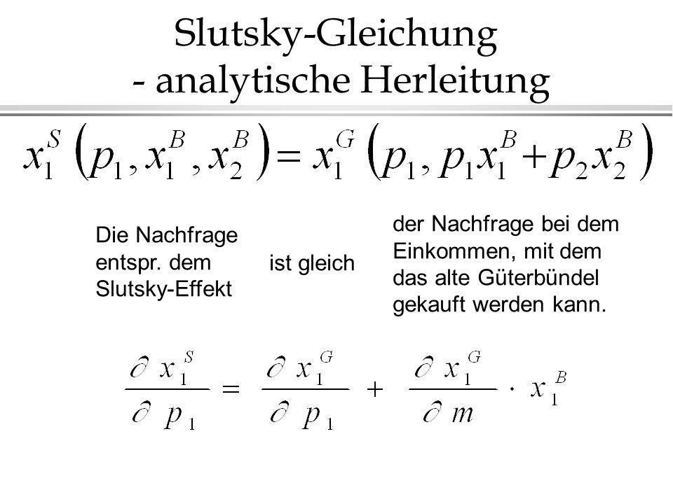 Slutsky-Gleichung - analytische Herleitung