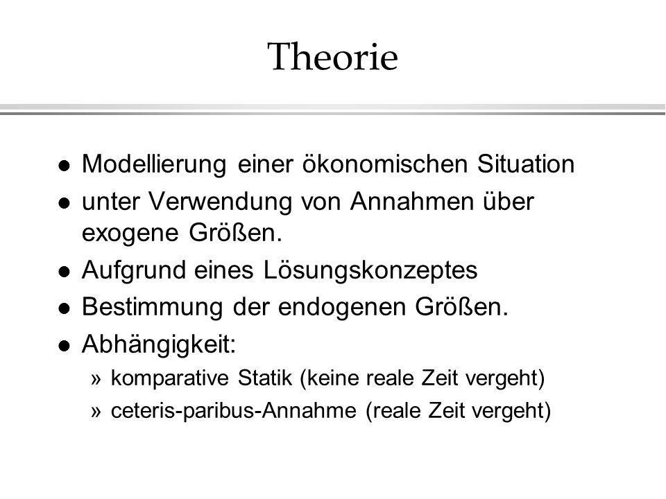 Theorie Modellierung einer ökonomischen Situation