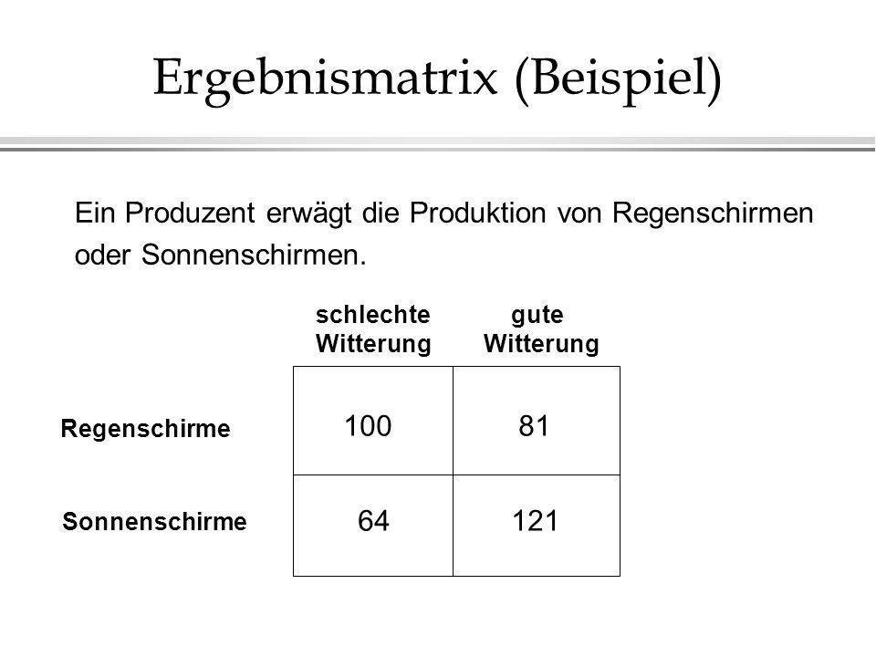 Ergebnismatrix (Beispiel)