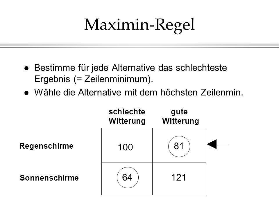 Maximin-Regel Bestimme für jede Alternative das schlechteste Ergebnis (= Zeilenminimum). Wähle die Alternative mit dem höchsten Zeilenmin.