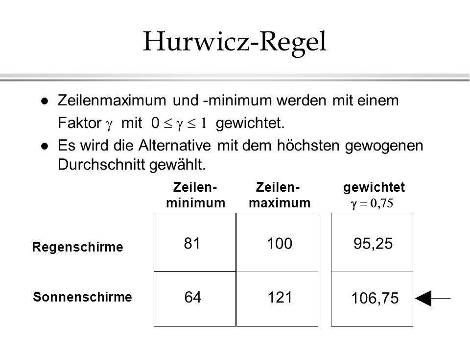 Hurwicz-Regel Zeilenmaximum und -minimum werden mit einem