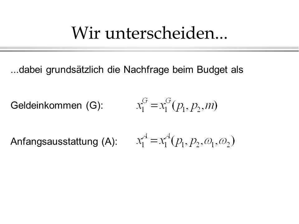 Wir unterscheiden... ...dabei grundsätzlich die Nachfrage beim Budget als.