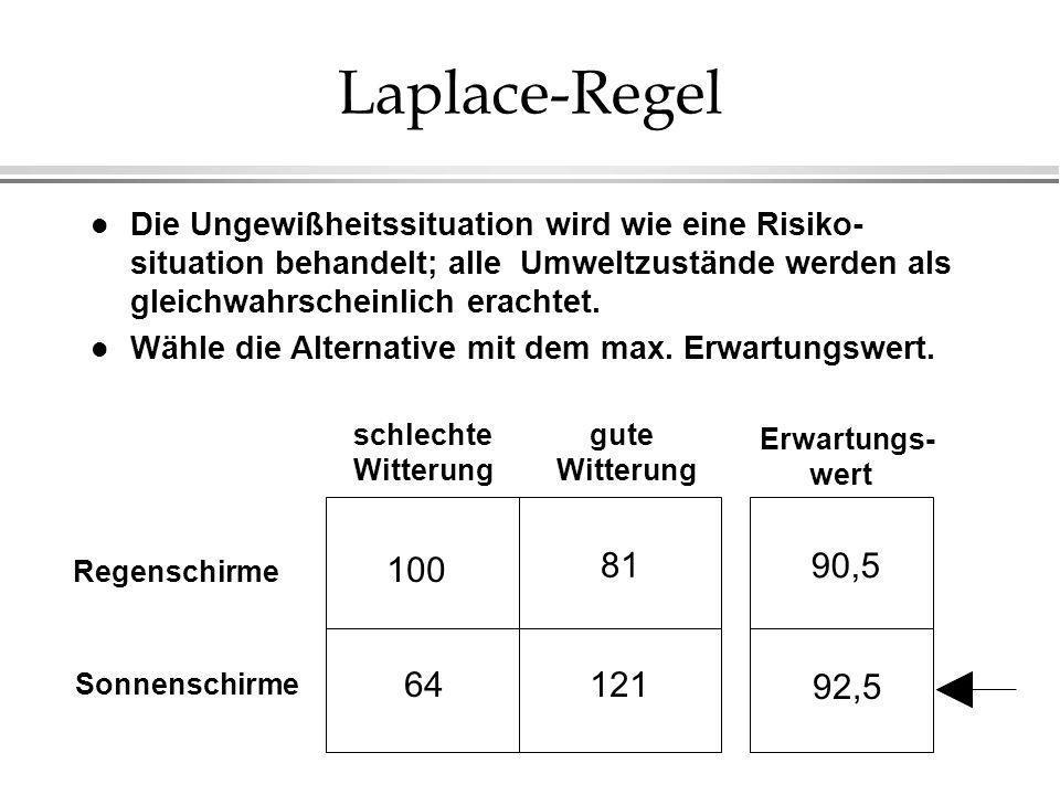 Laplace-Regel Die Ungewißheitssituation wird wie eine Risiko-situation behandelt; alle Umweltzustände werden als gleichwahrscheinlich erachtet.