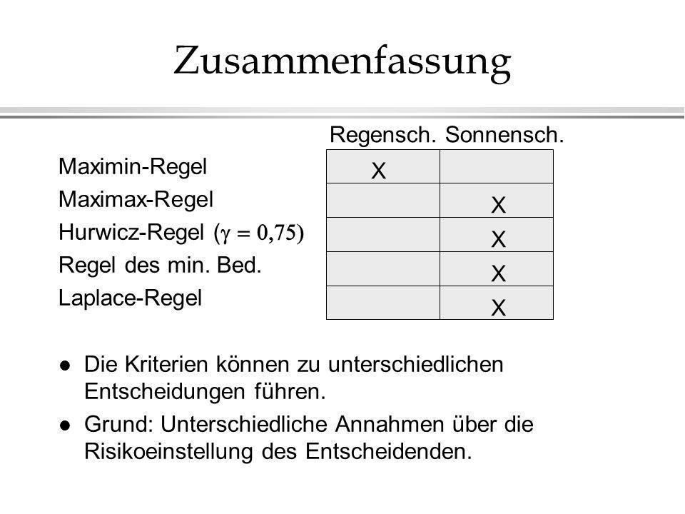 Zusammenfassung Regensch. Sonnensch. Maximin-Regel X Maximax-Regel