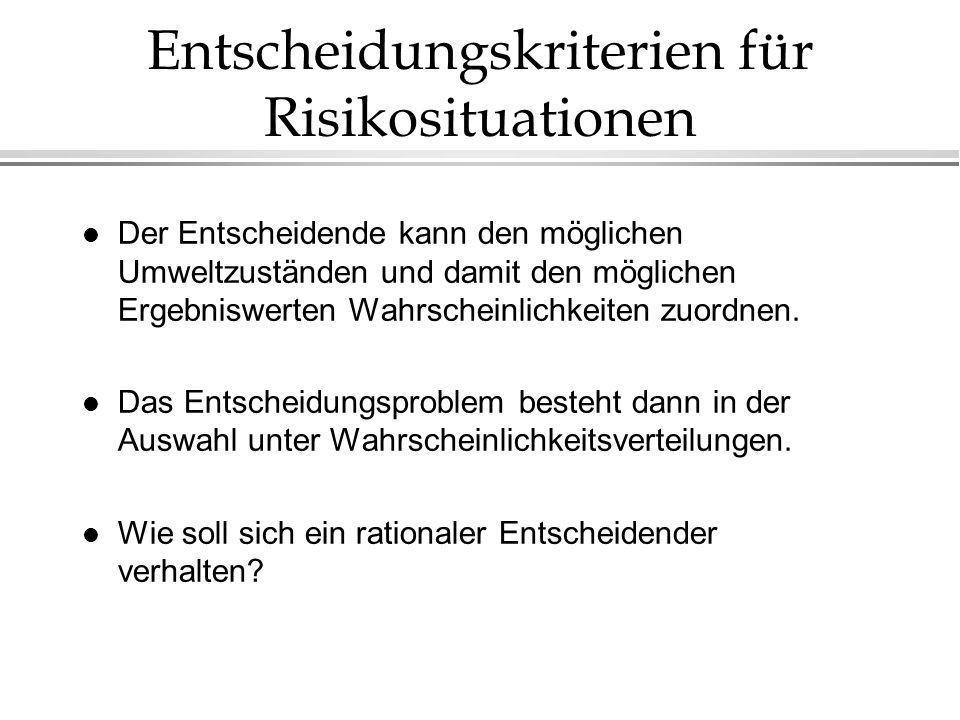 Entscheidungskriterien für Risikosituationen
