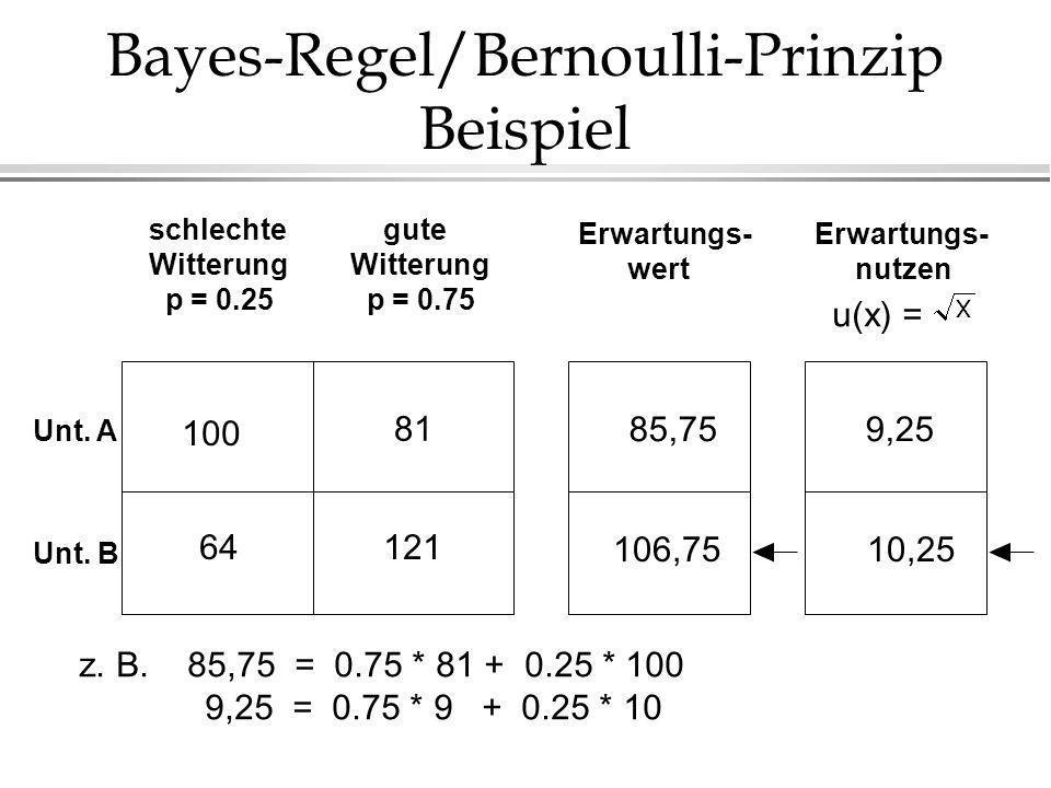 Bayes-Regel/Bernoulli-Prinzip Beispiel