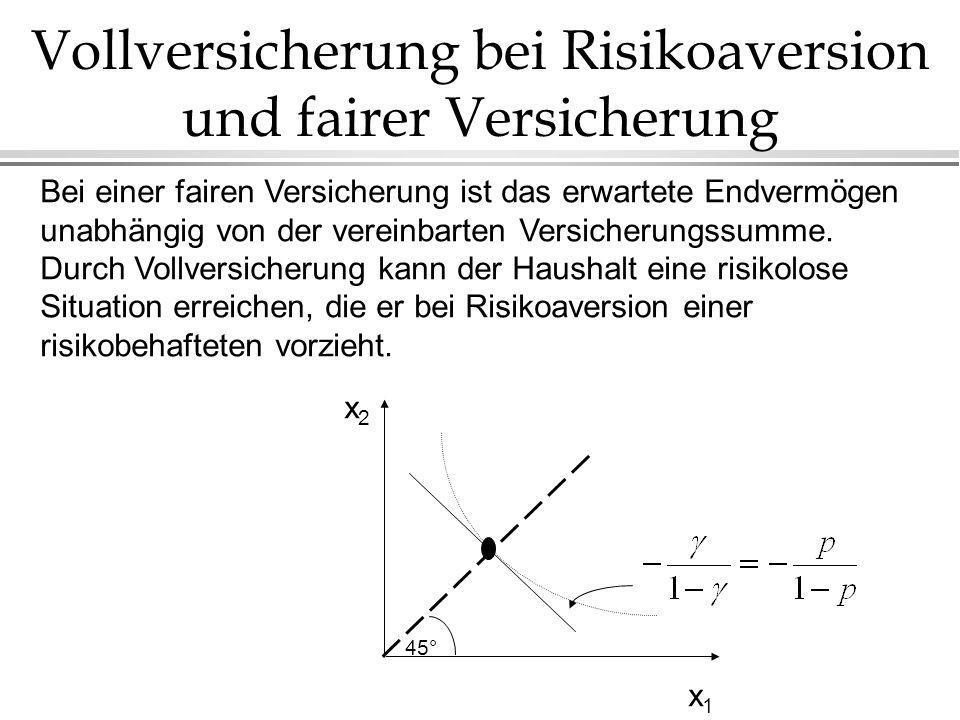 Vollversicherung bei Risikoaversion und fairer Versicherung