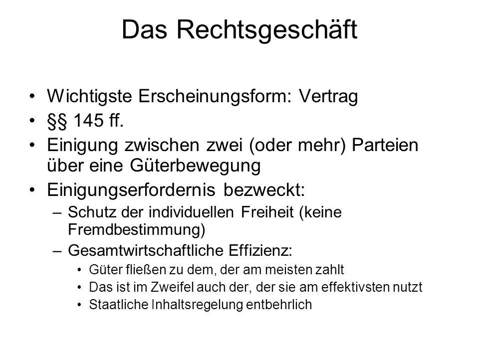 Das Rechtsgeschäft Wichtigste Erscheinungsform: Vertrag §§ 145 ff.