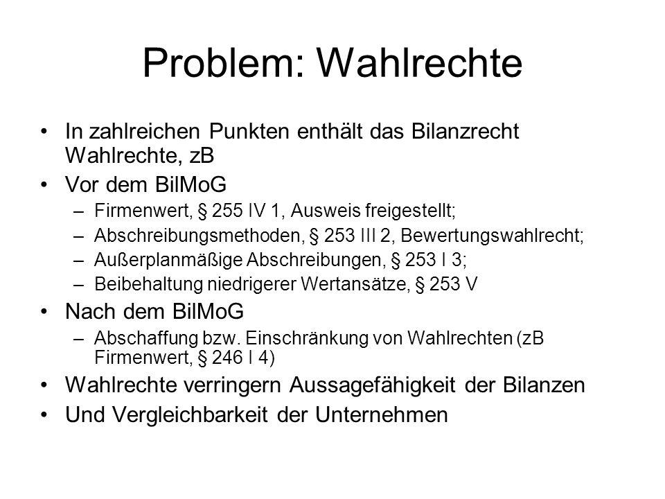 Problem: WahlrechteIn zahlreichen Punkten enthält das Bilanzrecht Wahlrechte, zB. Vor dem BilMoG. Firmenwert, § 255 IV 1, Ausweis freigestellt;