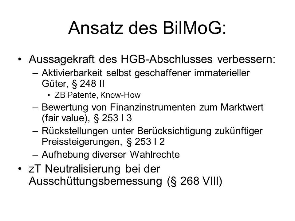 Ansatz des BilMoG: Aussagekraft des HGB-Abschlusses verbessern: