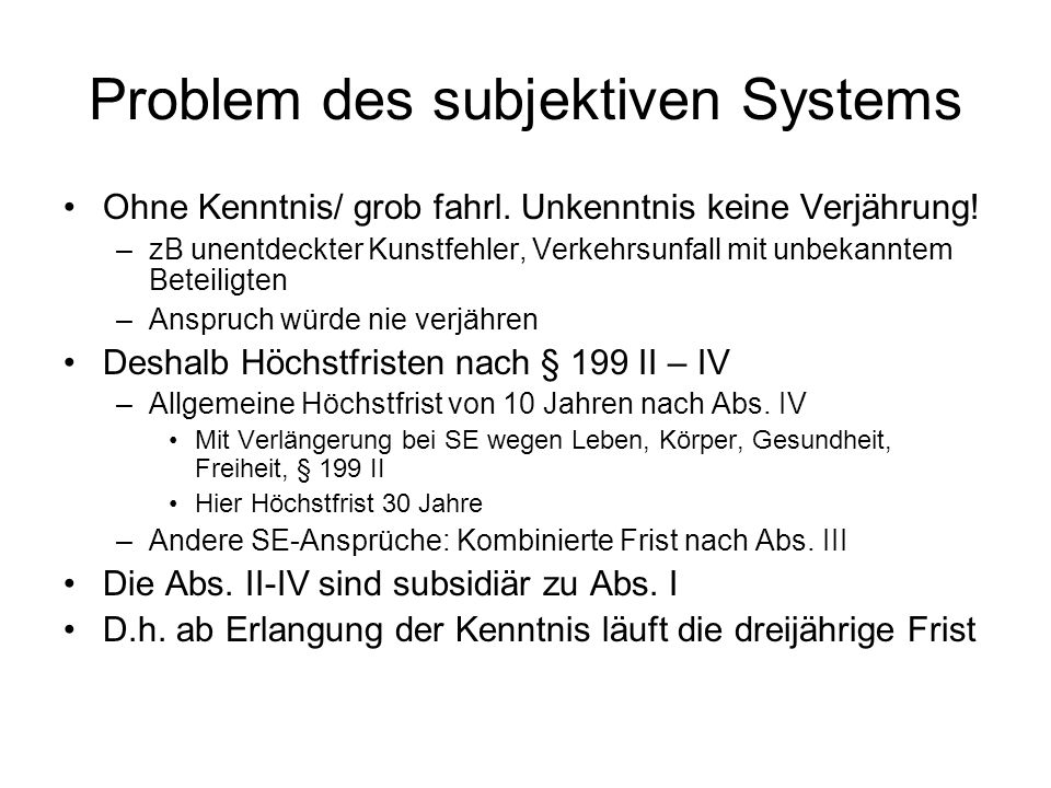 Problem des subjektiven Systems