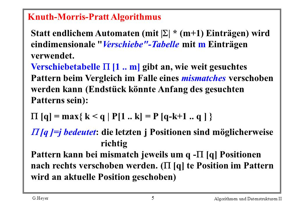 Knuth-Morris-Pratt Algorithmus