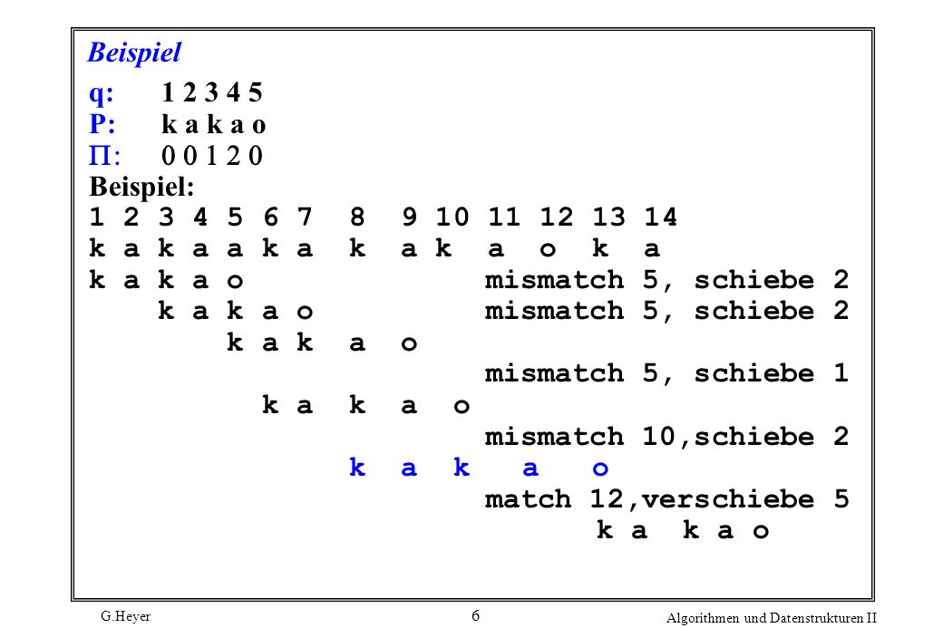 Beispiel q: 1 2 3 4 5. P: k a k a o. P: 0 0 1 2 0. Beispiel: 1 2 3 4 5 6 7 8 9 10 11 12 13 14.