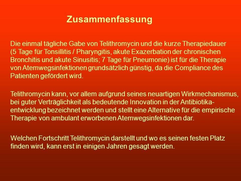 Zusammenfassung Die einmal tägliche Gabe von Telithromycin und die kurze Therapiedauer.