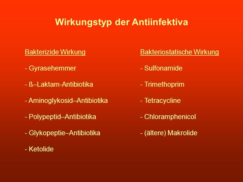 Wirkungstyp der Antiinfektiva