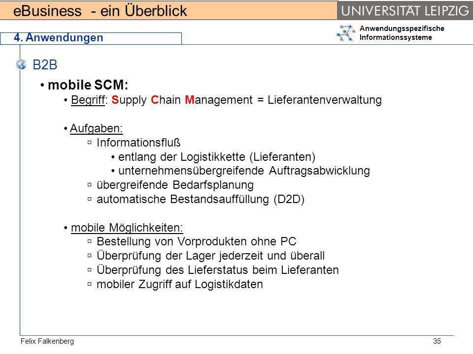 4. Anwendungen B2B. mobile SCM: Begriff: Supply Chain Management = Lieferantenverwaltung. Aufgaben: