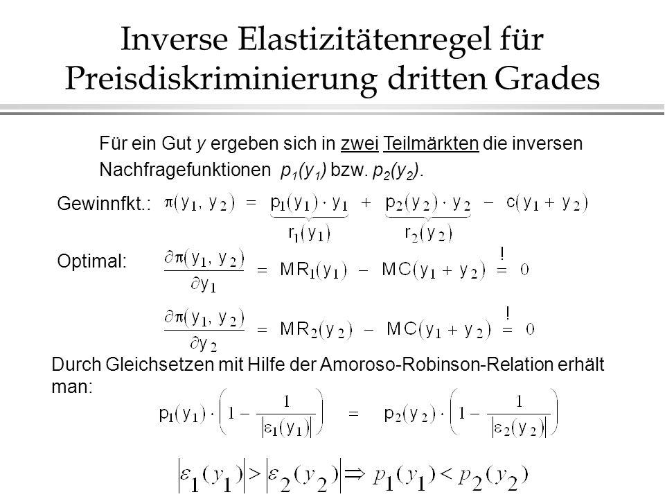 Inverse Elastizitätenregel für Preisdiskriminierung dritten Grades