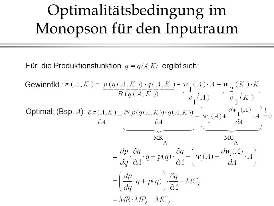 Optimalitätsbedingung im Monopson für den Inputraum