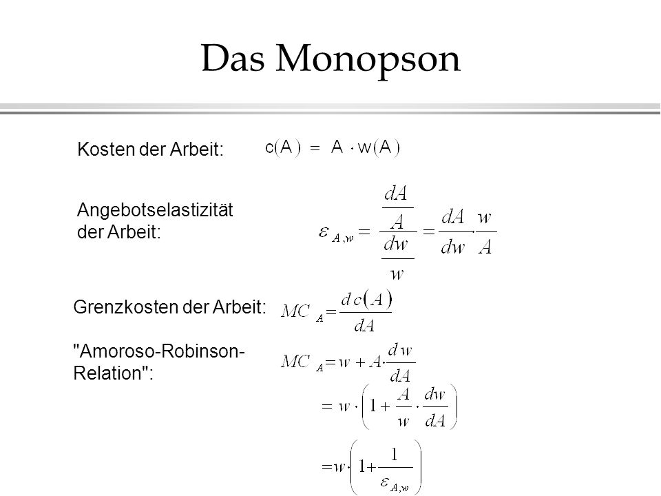 Das Monopson Kosten der Arbeit: Angebotselastizität der Arbeit: