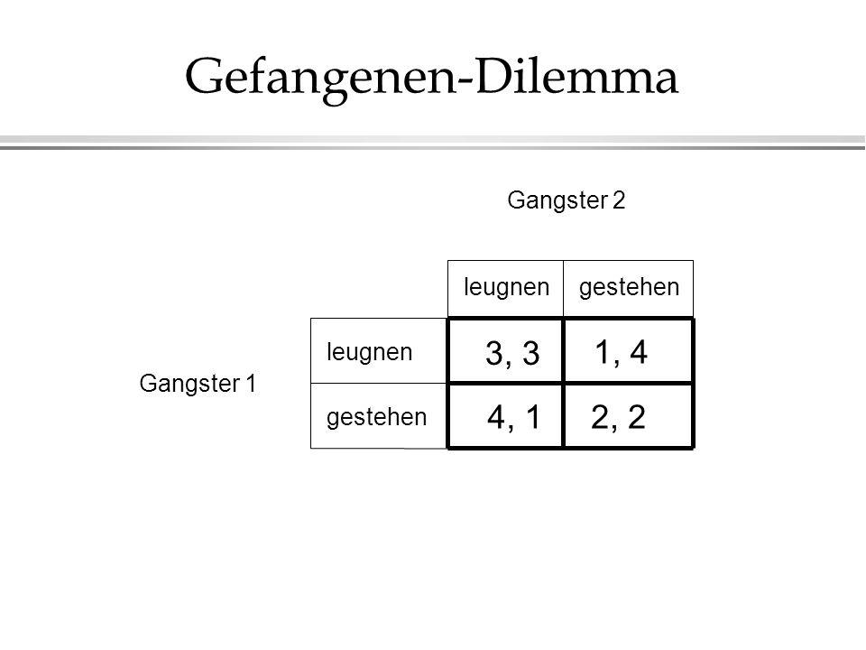Gefangenen-Dilemma 1, 4 3, 3 4, 1 2, 2 Gangster 2 leugnen gestehen