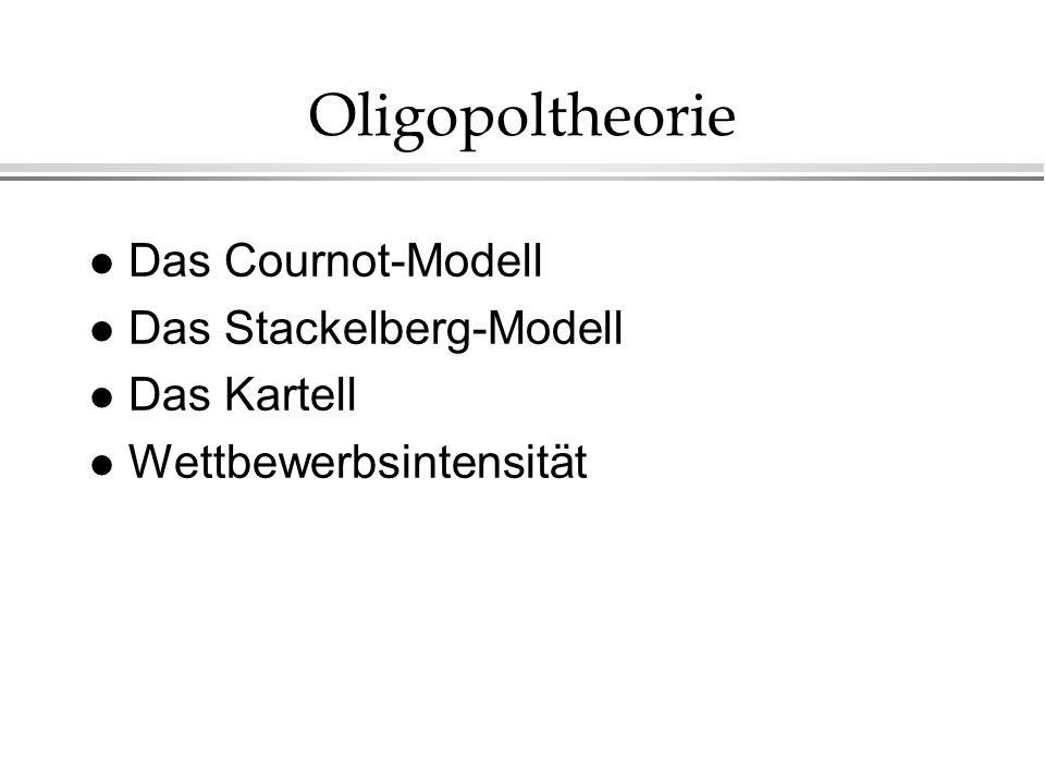Oligopoltheorie Das Cournot-Modell Das Stackelberg-Modell Das Kartell