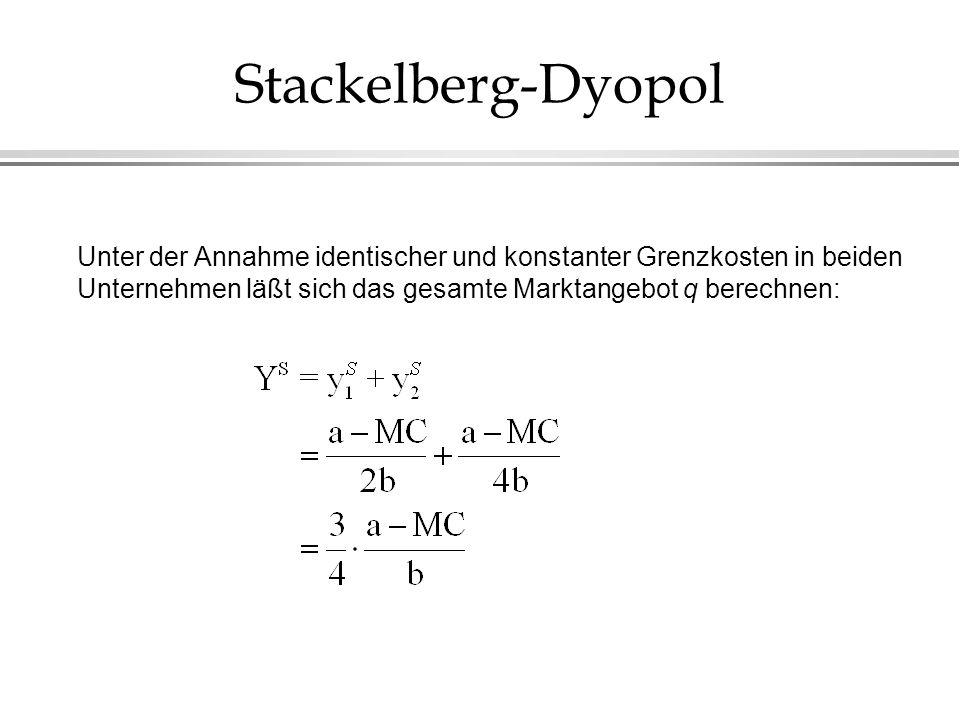 Stackelberg-DyopolUnter der Annahme identischer und konstanter Grenzkosten in beiden Unternehmen läßt sich das gesamte Marktangebot q berechnen: