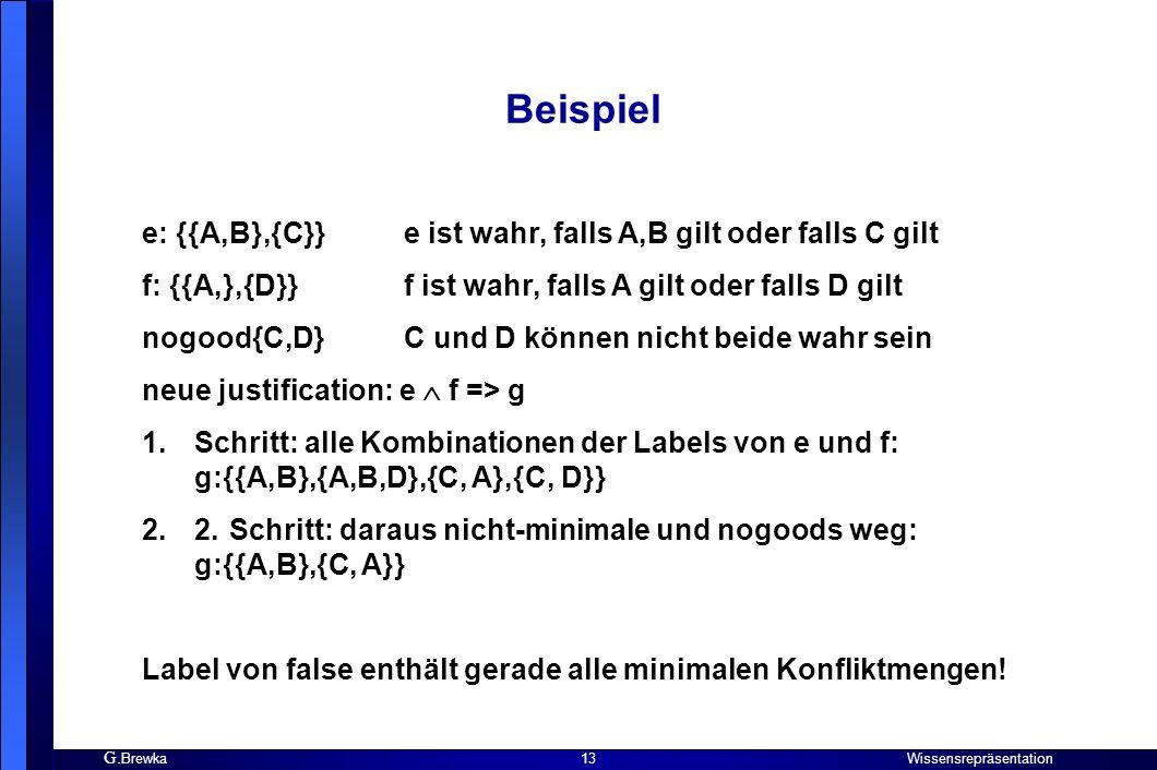 Beispiel e: {{A,B},{C}} e ist wahr, falls A,B gilt oder falls C gilt