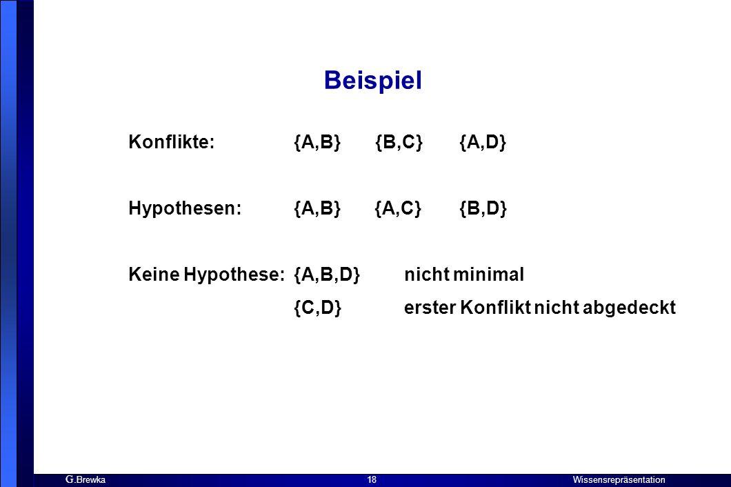 Beispiel Konflikte: {A,B} {B,C} {A,D} Hypothesen: {A,B} {A,C} {B,D}