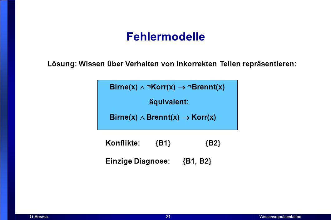 Fehlermodelle Lösung: Wissen über Verhalten von inkorrekten Teilen repräsentieren: Birne(x)  ¬Korr(x)  ¬Brennt(x)