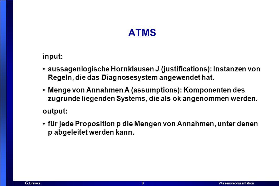 ATMS input: aussagenlogische Hornklausen J (justifications): Instanzen von Regeln, die das Diagnosesystem angewendet hat.