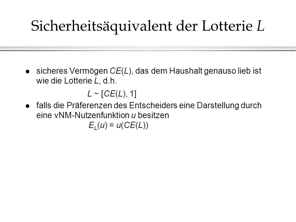 Sicherheitsäquivalent der Lotterie L