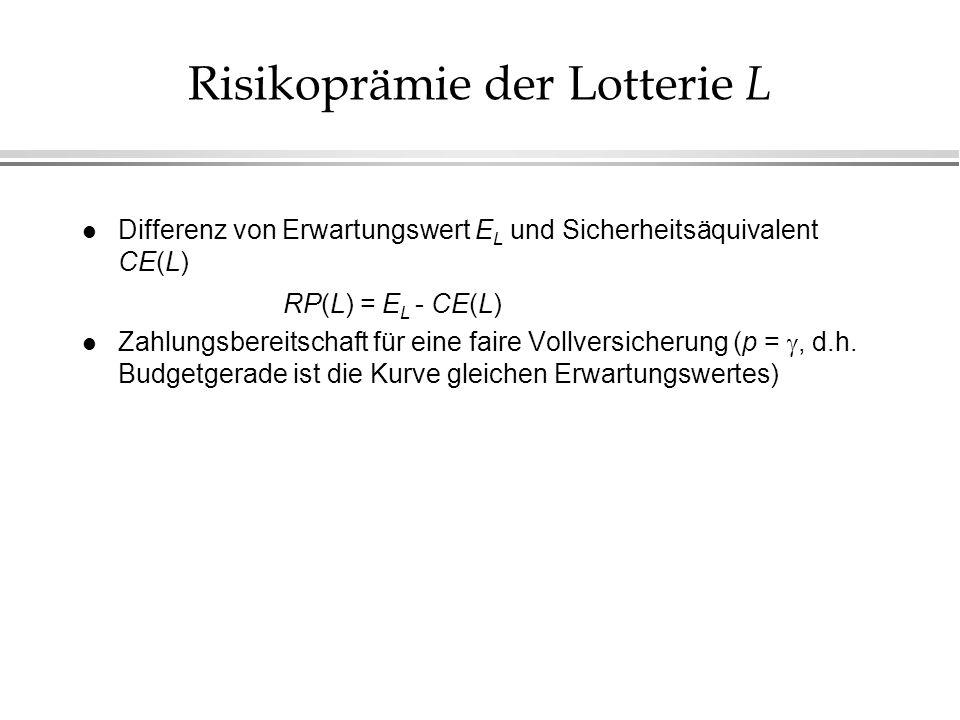 Risikoprämie der Lotterie L