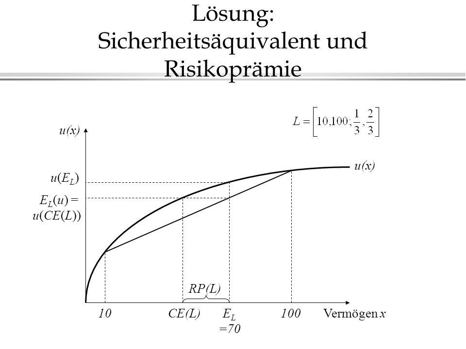 Lösung: Sicherheitsäquivalent und Risikoprämie