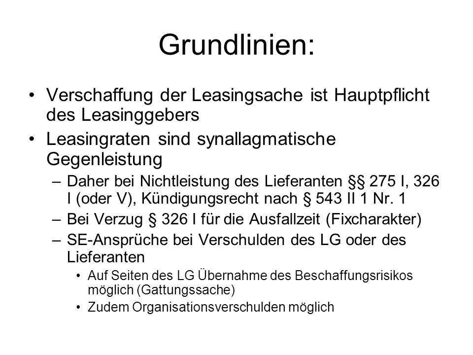 Grundlinien: Verschaffung der Leasingsache ist Hauptpflicht des Leasinggebers. Leasingraten sind synallagmatische Gegenleistung.